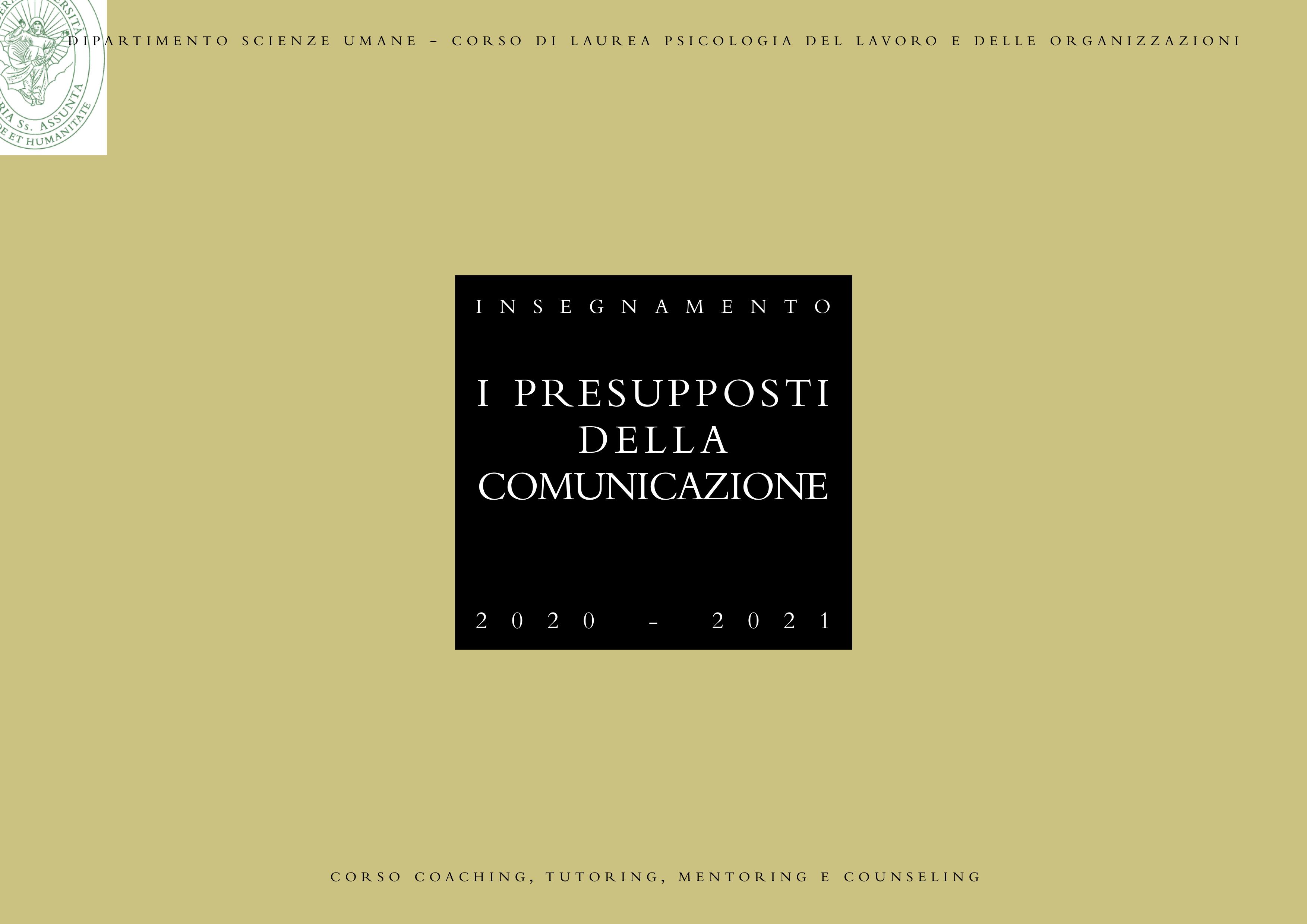 presupposti della comunicazione, lumsa, roma
